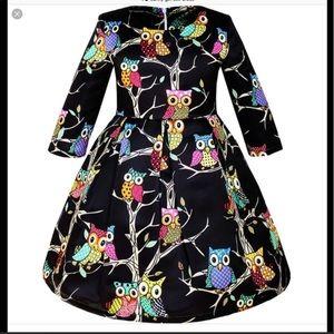 Girls Owl dress has a vintage flair!